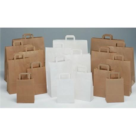Bolsas de papel 32+17x45 kraft havana, celulosa y verjurado