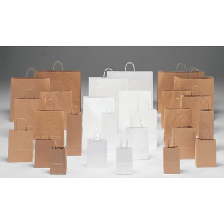 Bolsas de papel 32+13x41  kraft /blanco