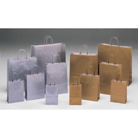 Bolsas de papel 18+8x24 plata y oro
